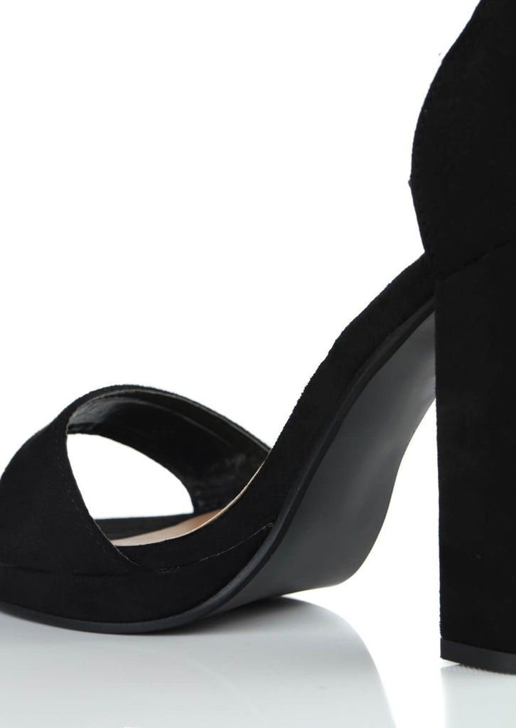Pink Clove Wide Fit Black Suede Ankle Strap Block Heels view 2