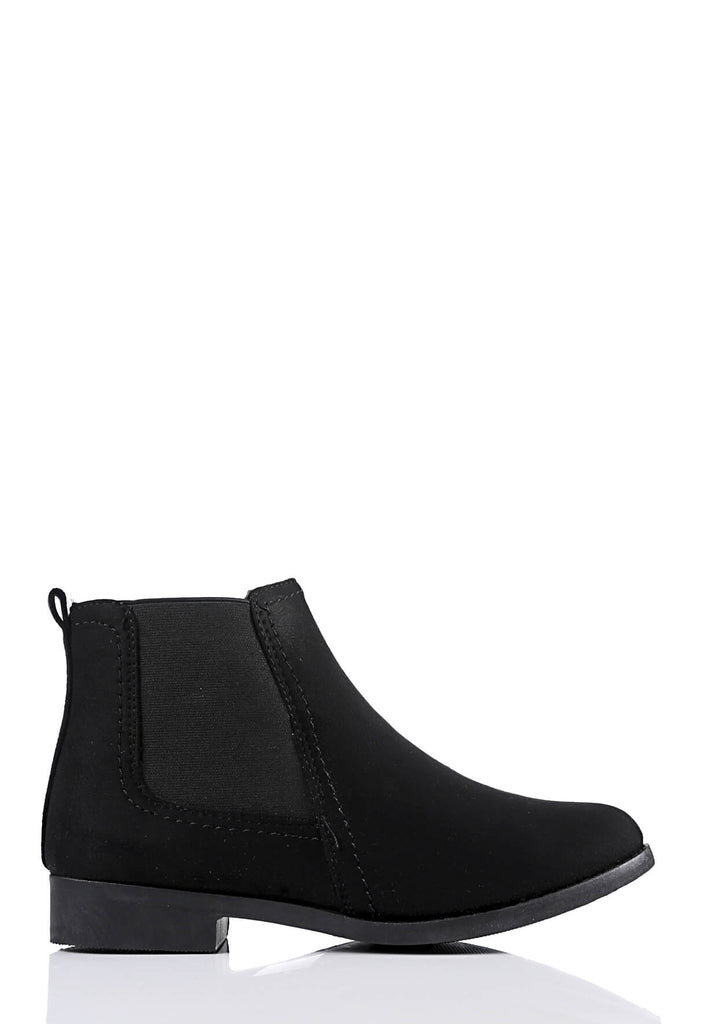 Pink Clove Wide Fit Black Suede Chelsea Boots