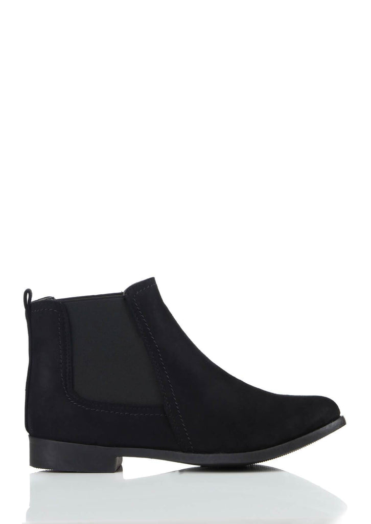 Wide Fit Black Suede Ankle Boots
