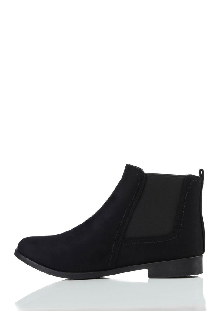 Pink Clove Wide Fit Black Suede Ankle Boots view 2