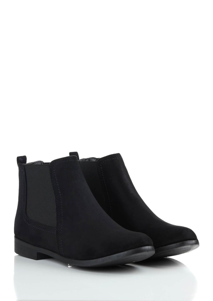 Wide Fit Black Suede Ankle Boots view 3
