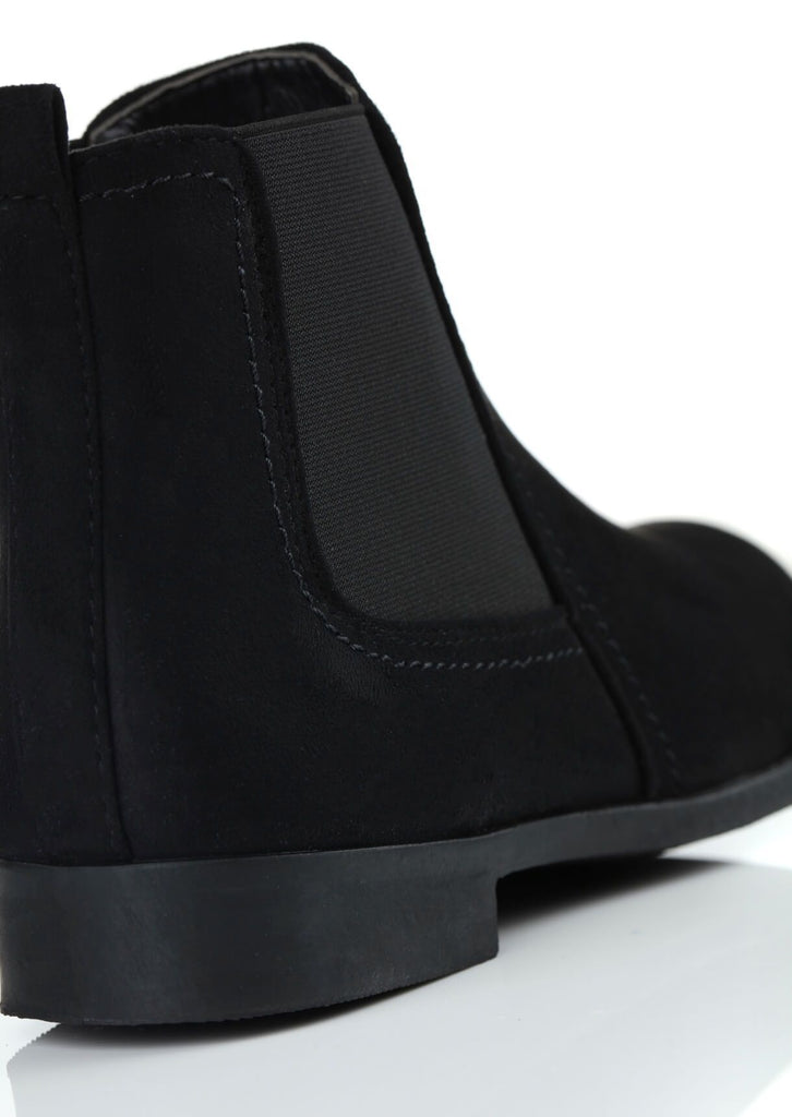 Pink Clove Wide Fit Black Suede Ankle Boots view 4