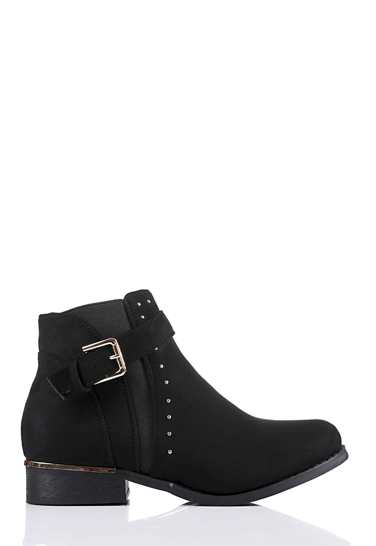 Wide Fit Black Suede Buckle & Stud Detail Boots