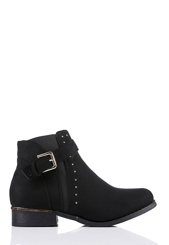 Pink Clove Wide Fit Black Suede Buckle & Stud Detail Boots