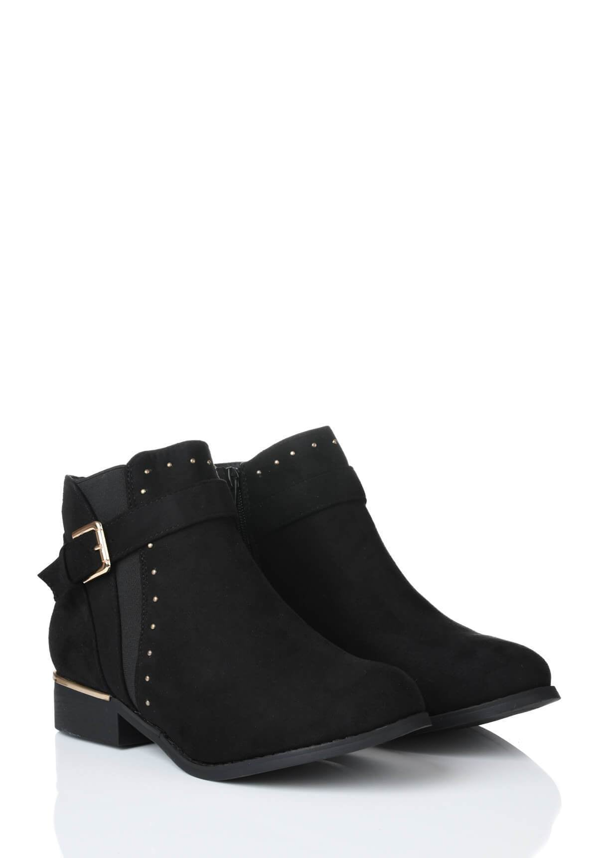 Wide Fit Ankle Boot With Rose Gold Studs and Buckle