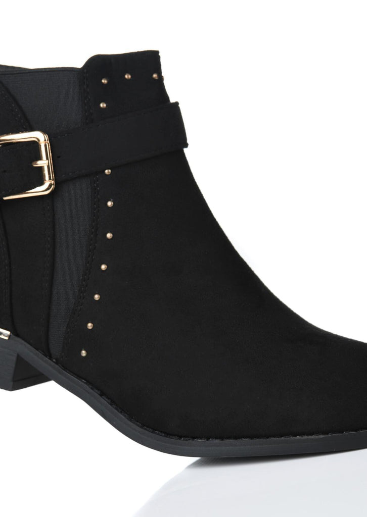 Pink Clove Wide Fit Ankle Boot With Rose Gold Studs and Buckle view 3