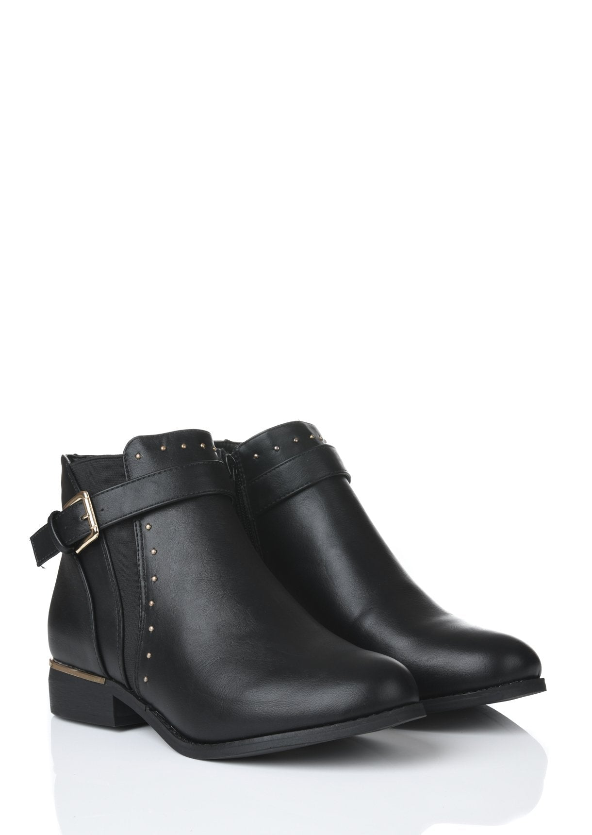 Wide Fit Leather Ankle Boots With Rose Gold Studs and Buckle