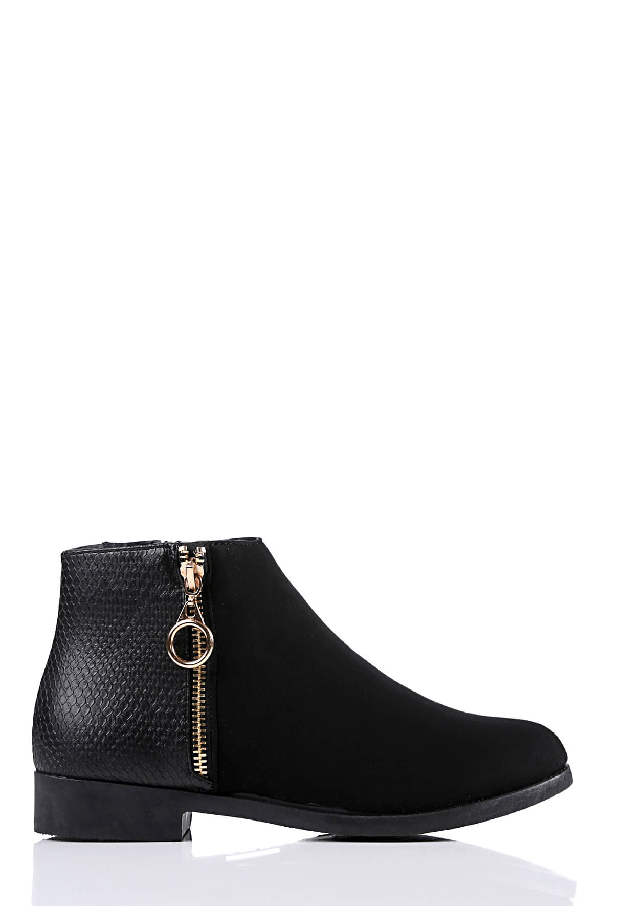 Wide Fit Black Suede Side Zip Boots