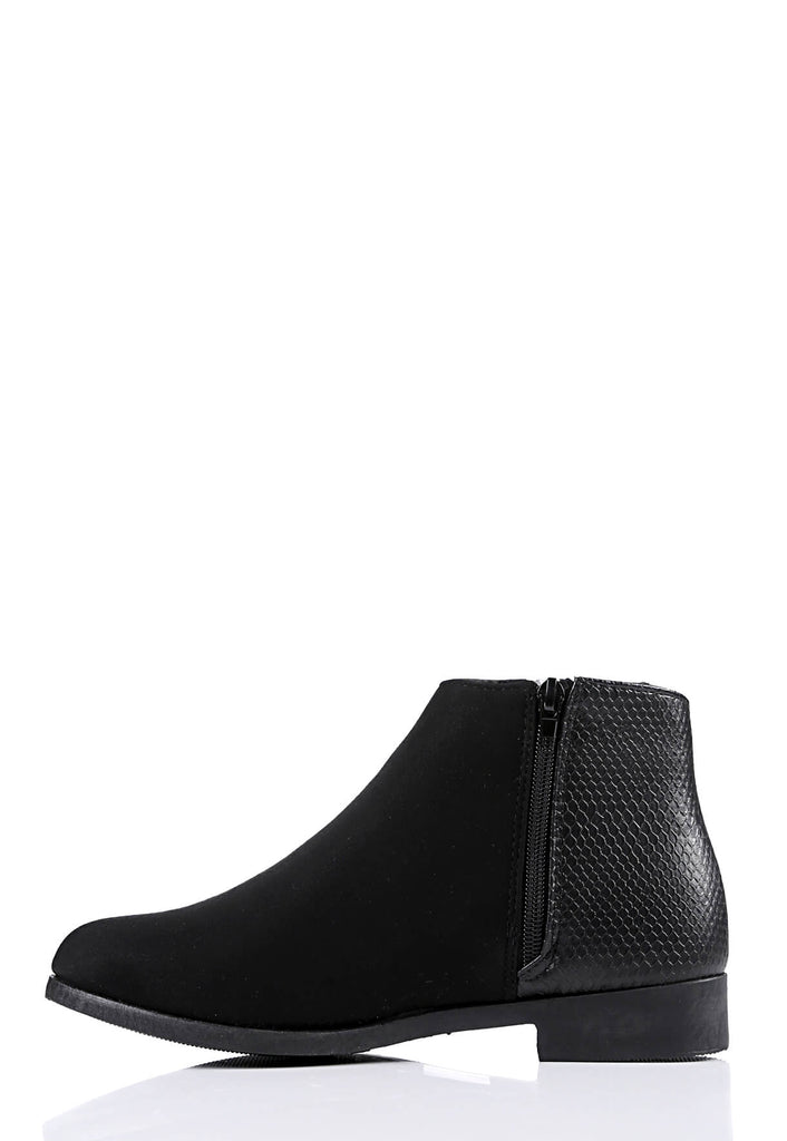 Pink Clove Wide Fit Black Suede Side Zip Boots view 2