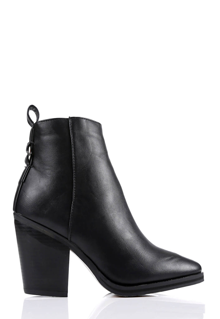 Pink Clove Wide Fit Black Pointed Toe Boots