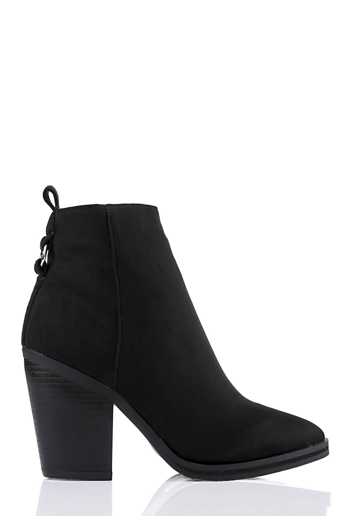Wide Fit Black Suede Pointed Toe Boots