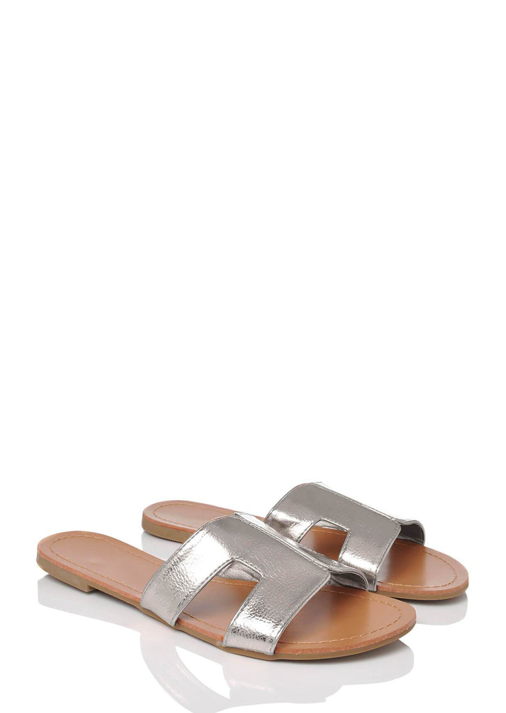 Pink Clove Wide Fit Silver Slip On Flat Sandals