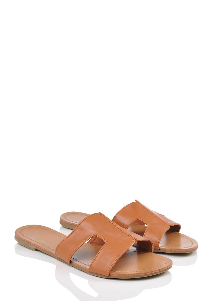 Tan Wide Fit Tan Slip On Flat Sandals 1 view main view