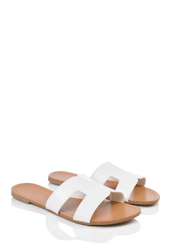 White Wide Fit White Snake Slip On Flat Sandals 1 view main view