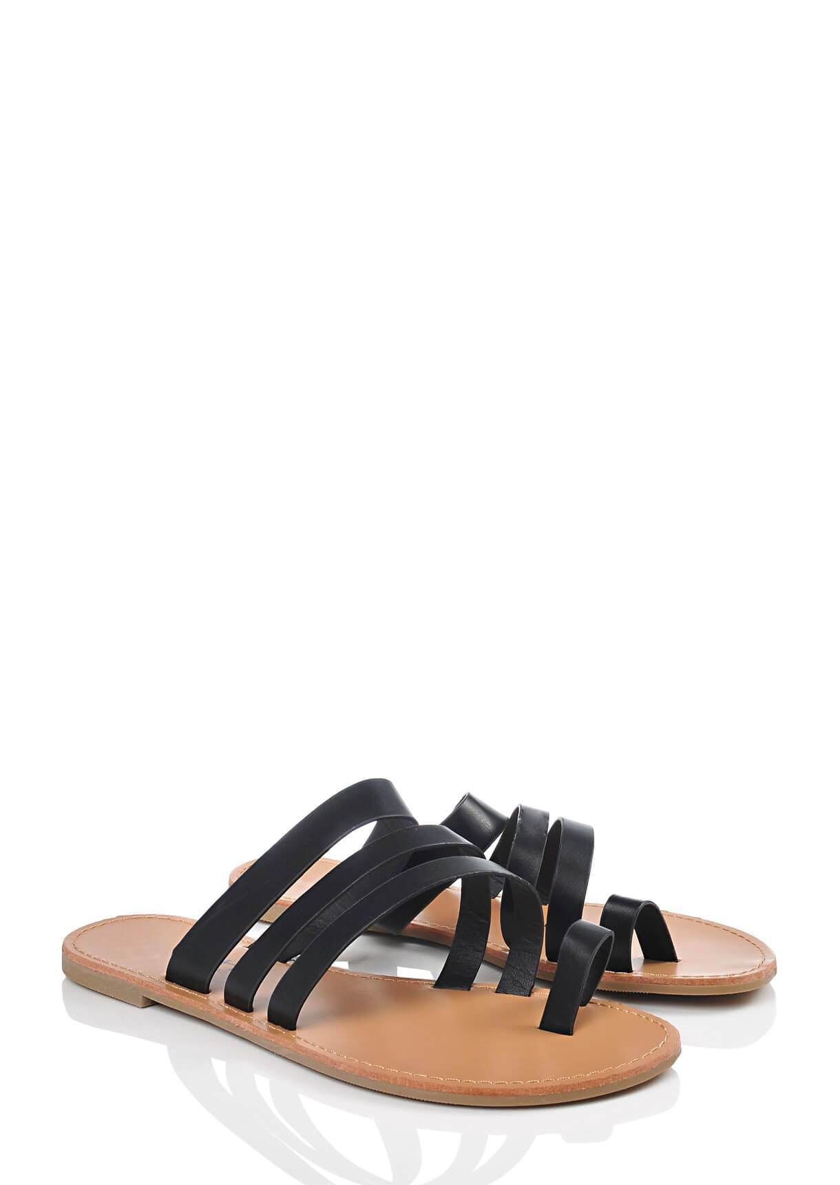 Wide Fit Black Strappy Toe Post Sandals