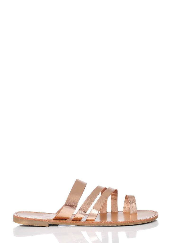 Pink Clove Wide Fit Rose Gold Strappy Toe Post Sandals view 2