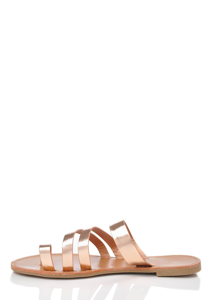 Pink Clove Wide Fit Rose Gold Strappy Toe Post Sandals view 3