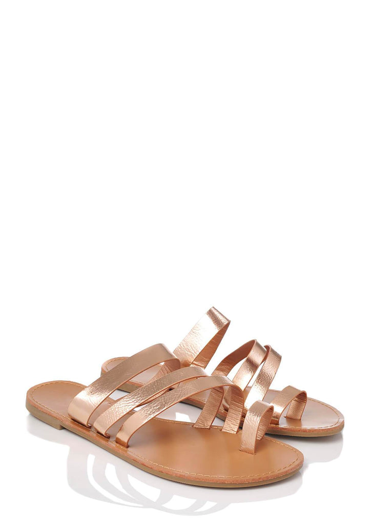 Pink Clove Wide Fit Rose Gold Strappy Toe Post Sandals