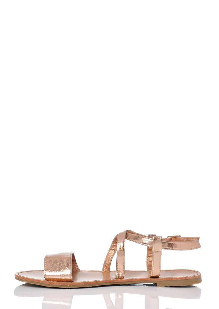 Pink Clove Wide Fit Rose Gold Ankle Strap Flat Sandals view 3