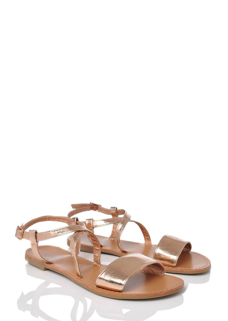 Pink Clove Wide Fit Rose Gold Ankle Strap Flat Sandals