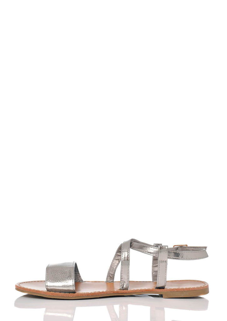 Pink Clove Wide Fit Silver Ankle Strap Flat Sandals view 3