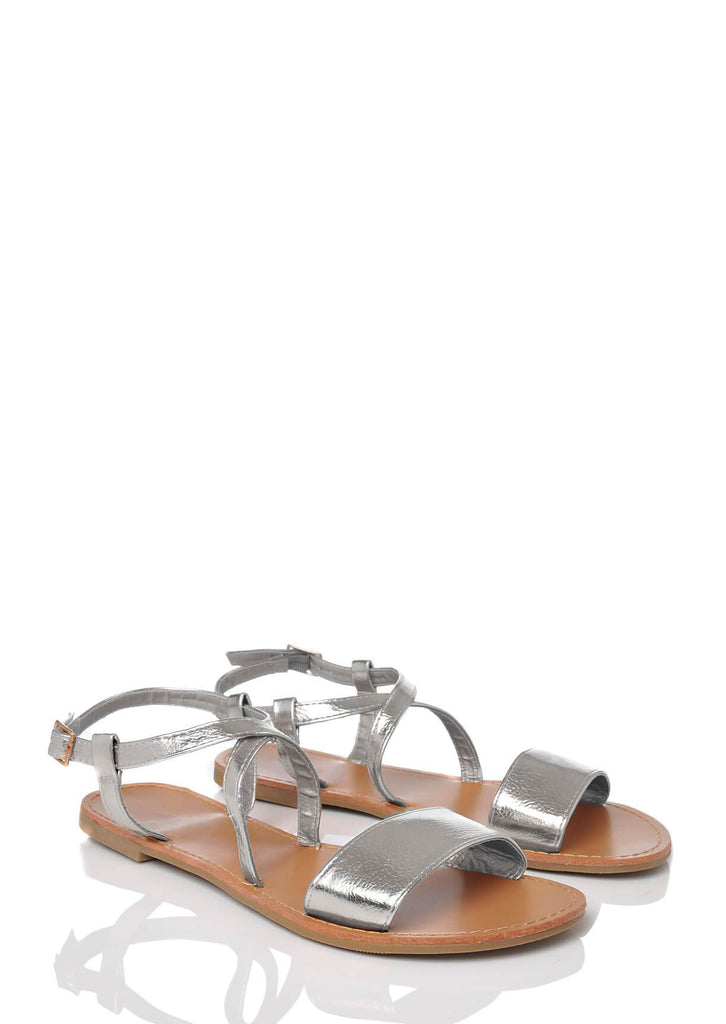 Pink Clove Wide Fit Silver Ankle Strap Flat Sandals