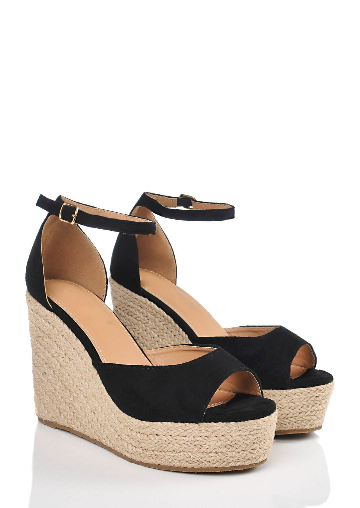 Wide Fit Black Suede Open Toe Wedge Sandals