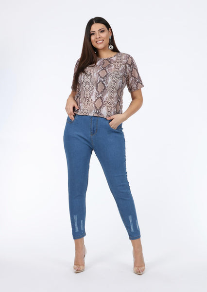 Plus Size Short Sleeve Snake Print Brown Top