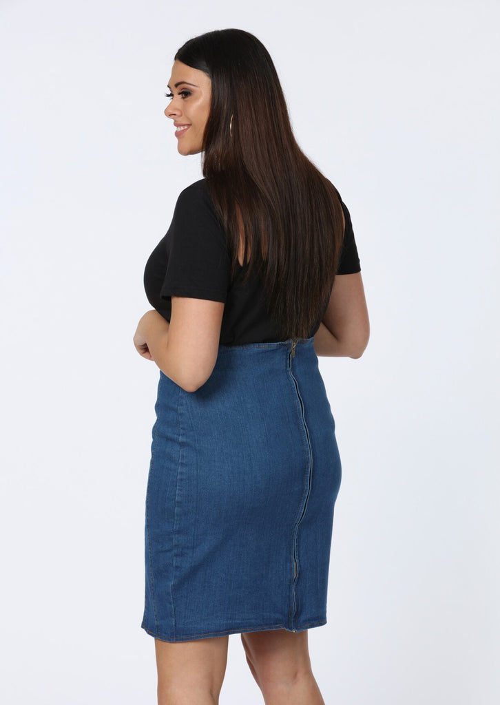 Pink Clove Zip Front Indigo Blue Denim Midi Skirt view 3