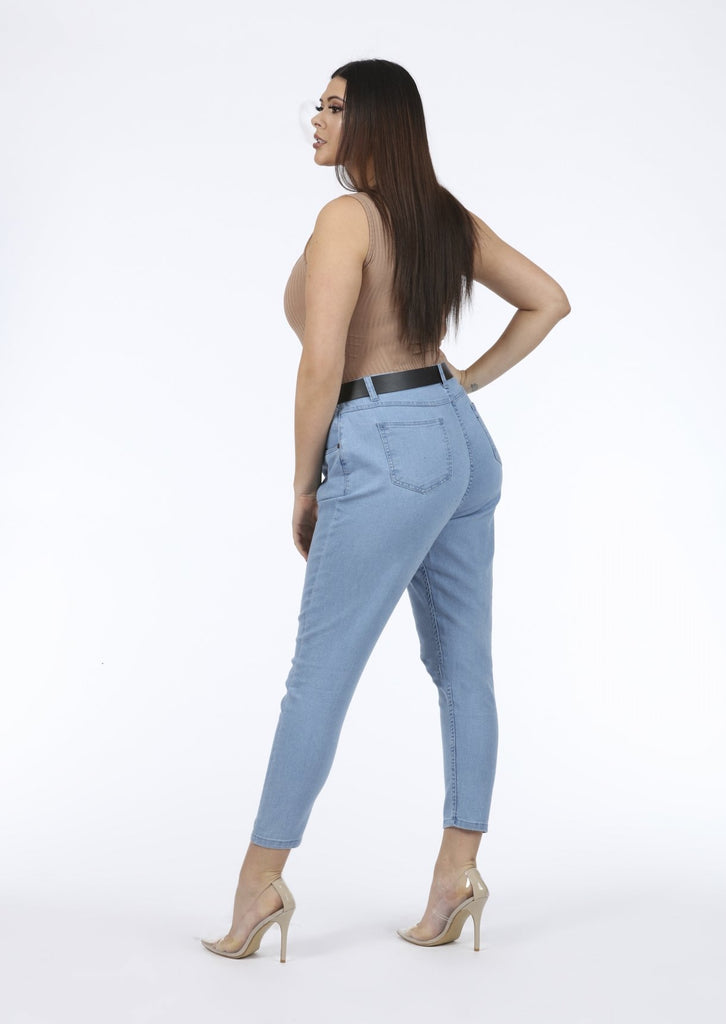 Plus Tarra Stretch Light Blue Denim Jeans view 3