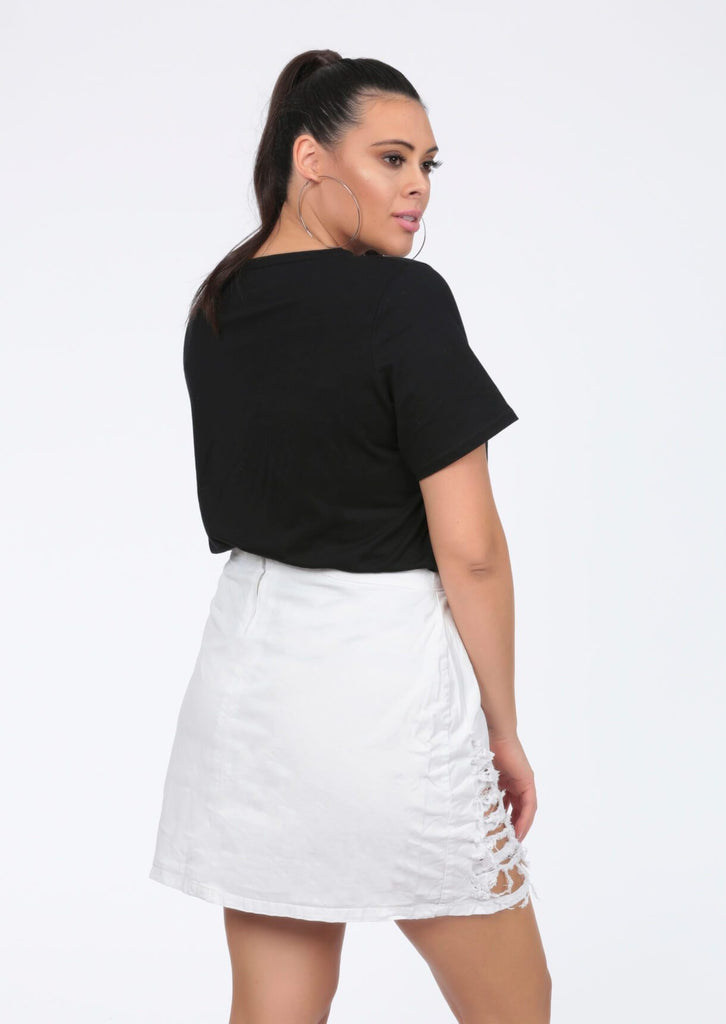 Plus White Tommie Denim Distressed Mini Skirt view 5