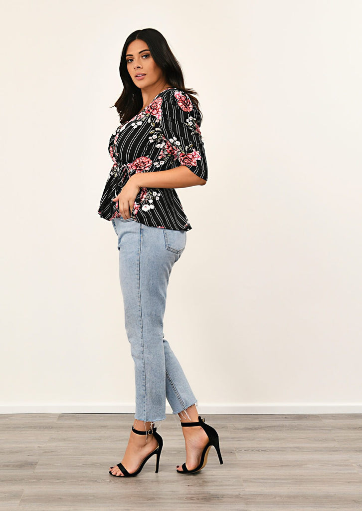 Black Floral Stripe Wrap Front Top 3 view 3