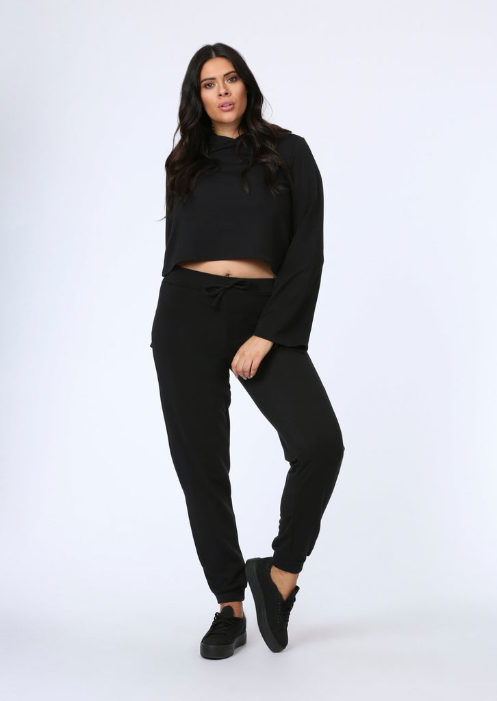Plus Size Flare Sleeve Crop Hoody in Black view main view