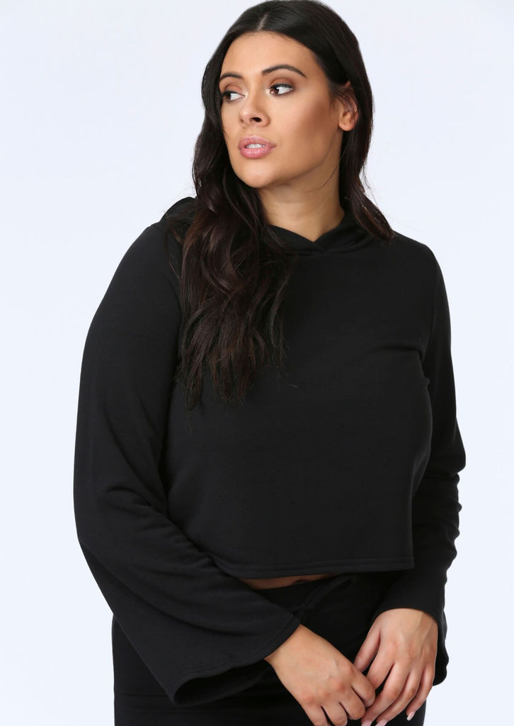 Plus Anoushka Flare Sleeve Crop Hoody in Black view 4