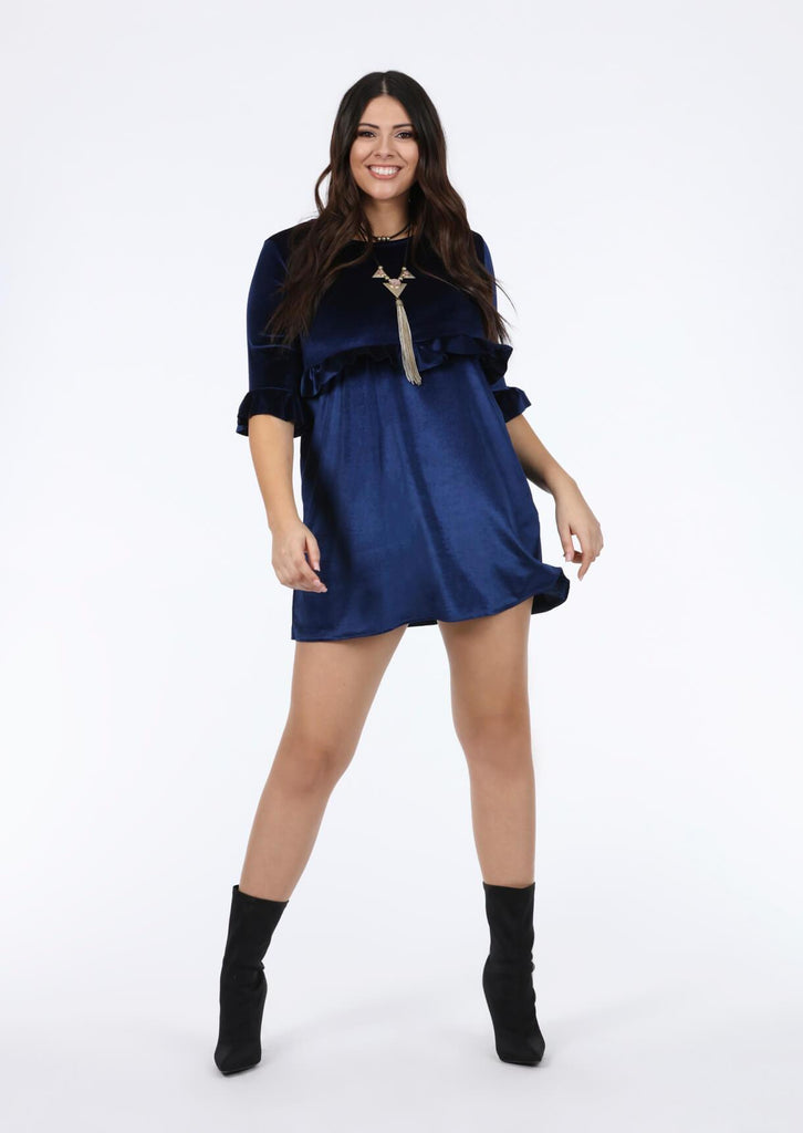Plus Size Navy 3/4 Frill Sleeve Dress view 3