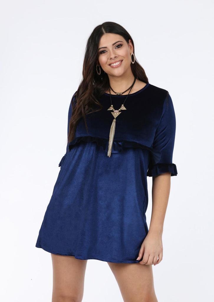 Plus Size Navy 3/4 Frill Sleeve Dress view main view