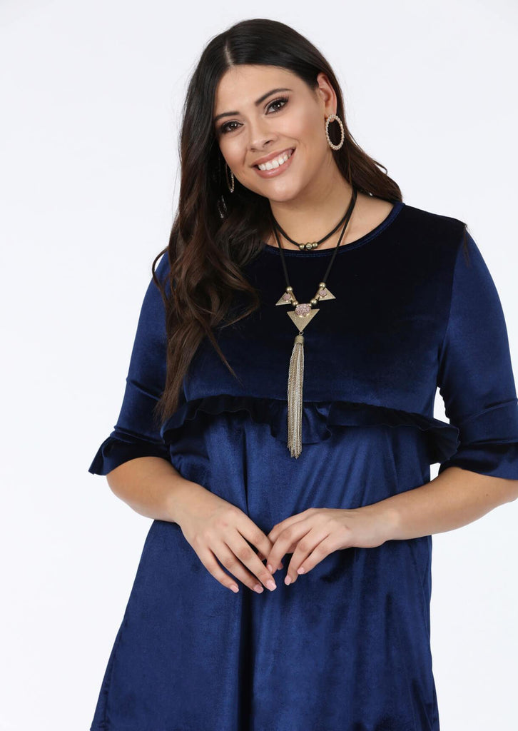 Plus Size Navy 3/4 Frill Sleeve Dress view 2