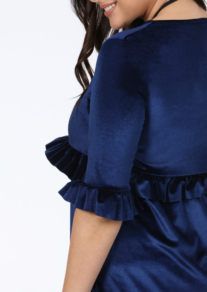 Plus Size Navy 3/4 Frill Sleeve Dress view 4