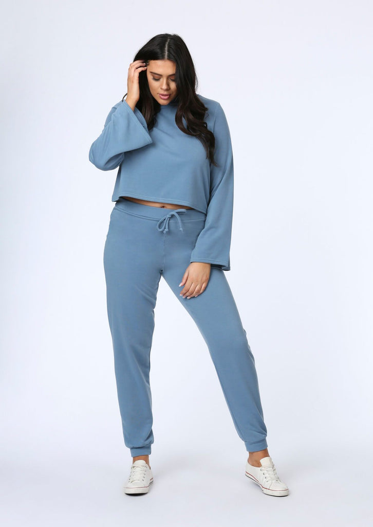 Pink Clove Flare Sleeve Crop Hoody in Blue