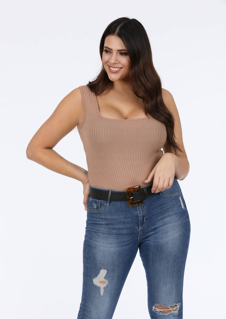 Plus Size Square Neck Wide Rib Nude Bodysuit view 2