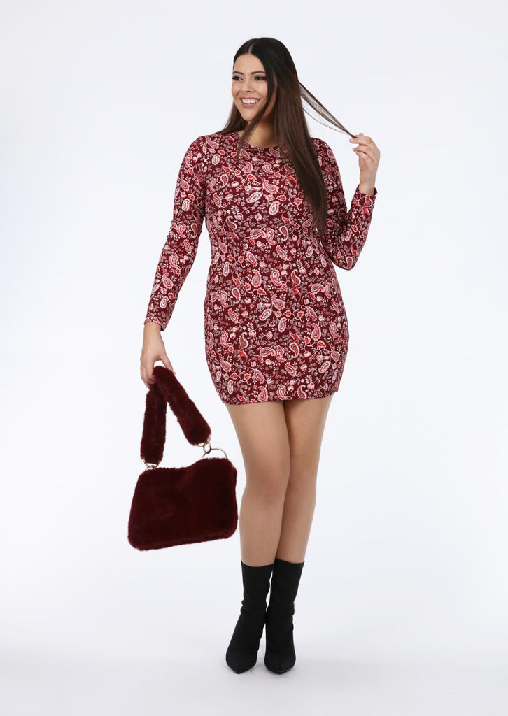 Pink Clove Bodycon Sleeve Dress In Red Paisley view 2