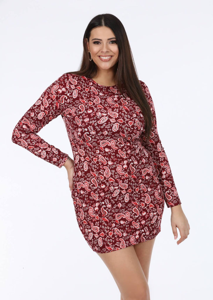 Pink Clove Bodycon Sleeve Dress In Red Paisley