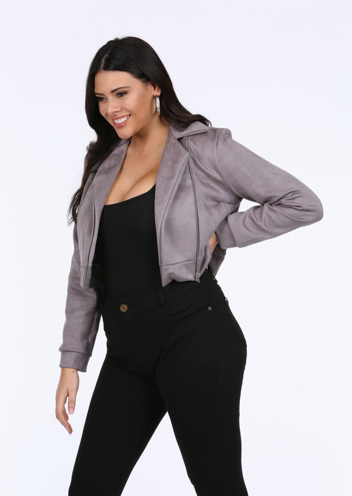 Plus Ora Biker Jacket in Grey
