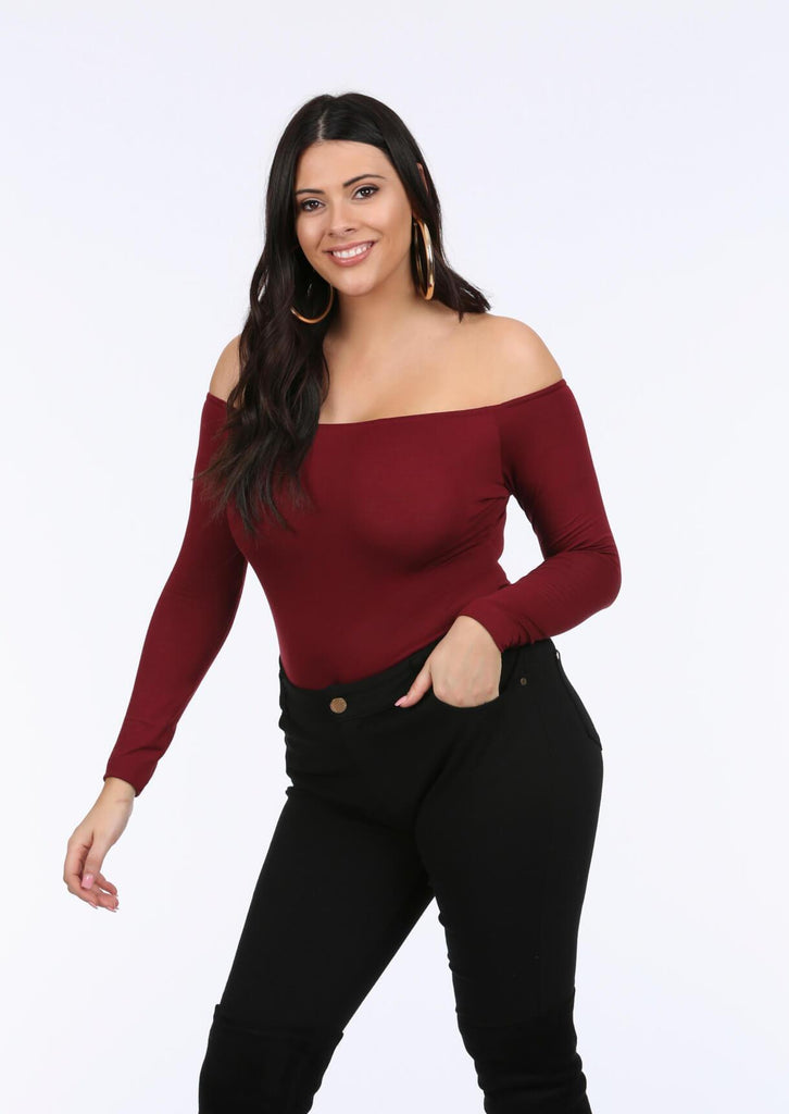 Plus Tamara Wine Bardot Bodysuit Top view 5