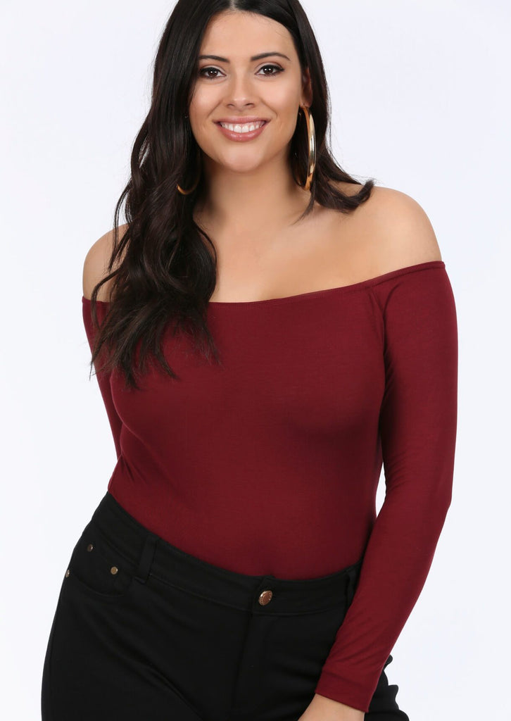 Plus Tamara Wine Bardot Bodysuit Top