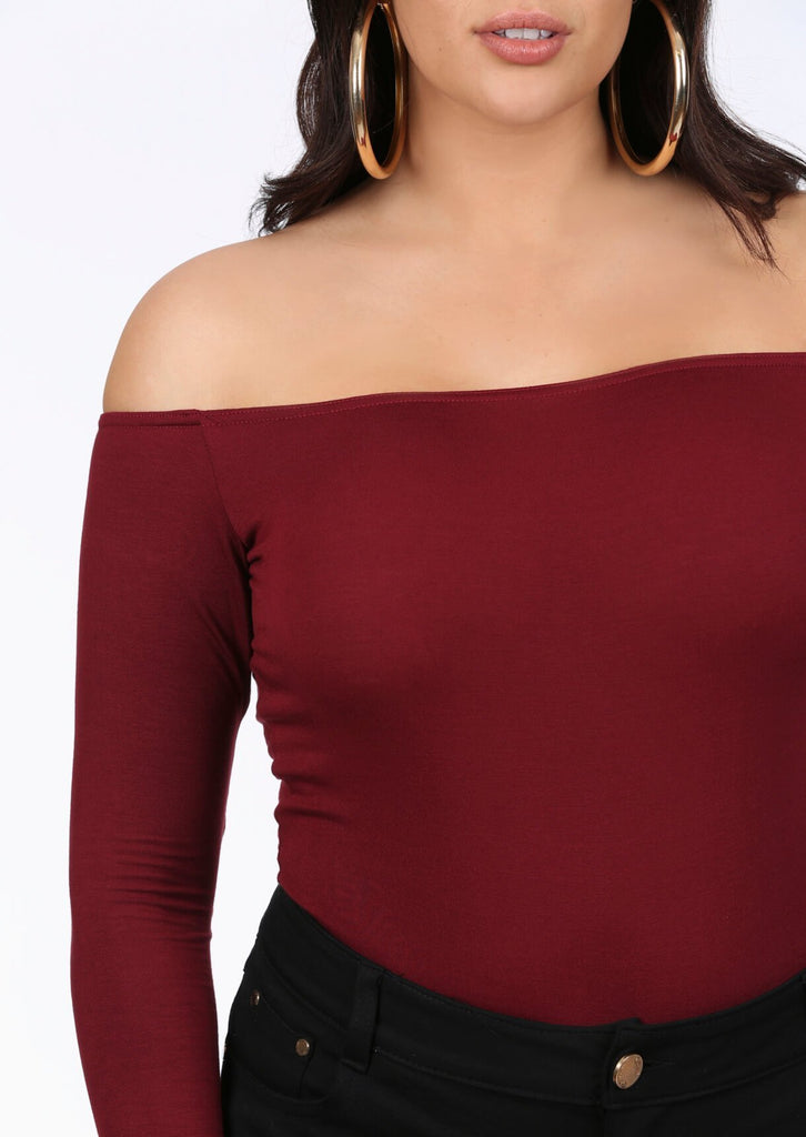Plus Tamara Wine Bardot Bodysuit Top view 3