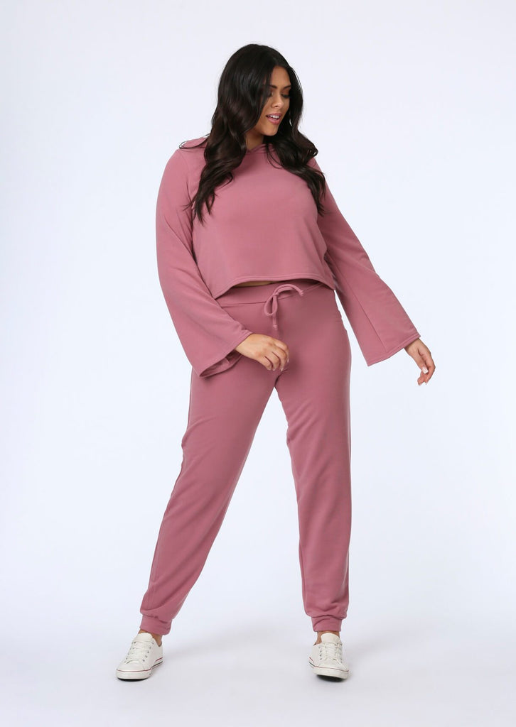 Plus Size Flare Sleeve Crop Hoody in Pink view main view