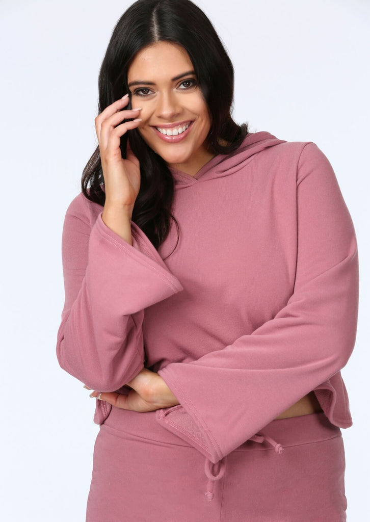 Plus Size Flare Sleeve Crop Hoody in Pink view 2