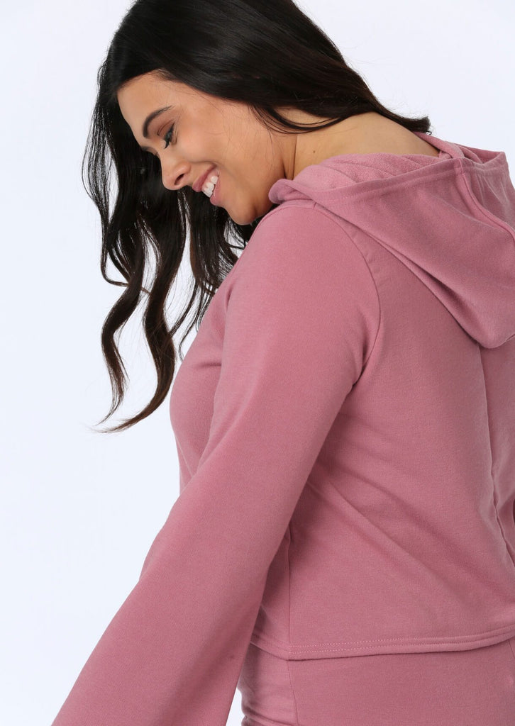 Plus Anoushka Flare Sleeve Crop Hoody in Pink view 4