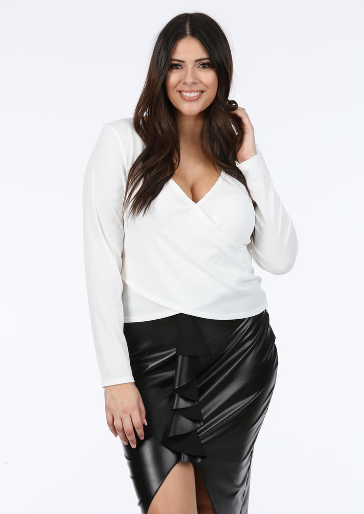 Plus Vera Wrap Rib Top In Cream